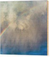Gathering Storm And Rainbow Wood Print