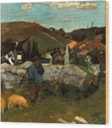 Gauguin: Swineherd, 1888 Wood Print