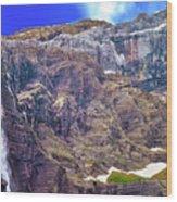 Gavarnie Circus Waterfall Wood Print