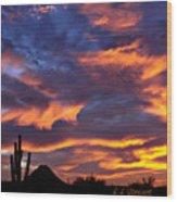 Gavilan Peak With Painted Sky Wood Print