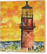 Gay Head Lighthouse Martha's Vineyard Wood Print