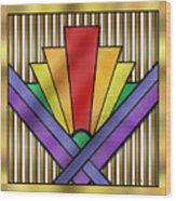 Rainbow Art Deco Wood Print