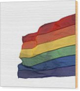 Gay Rainbow Flag  Wood Print