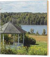 Gazebo And Caribou Lake Wood Print