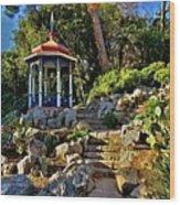 Gazebo And Garden  On A Hillside  Wood Print