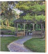 Gazebo At Madison County Bridges Wood Print