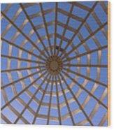 Gazebo Blue Sky Abstract Wood Print