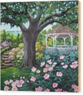 Gazebo By The Lake Wood Print