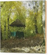 Gazebo In A Park Wood Print
