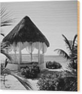 Gazebo On The Ocean Wood Print