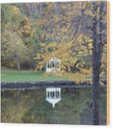 Gazebo Reflection Wood Print