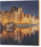 Gdansk By Night Wood Print