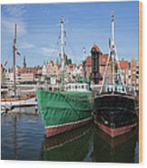 Gdansk Old Town Skyline From The Harbour Wood Print