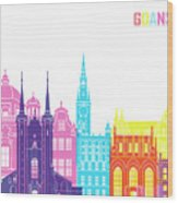 Gdansk Skyline Pop Wood Print
