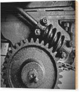 Gear In Monochrome Wood Print