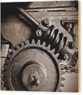 Gear In Sepia Wood Print
