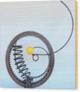 Gear Spring Around Yellow Ball Wood Print