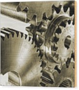 Gears And Cogwheels In Antique Look Wood Print