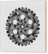 Gearwheel In Black And White Wood Print