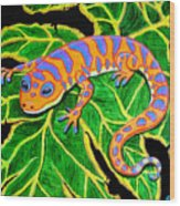 Gecko Hanging On Wood Print