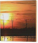 Geese Flying Into The Sunset Wood Print