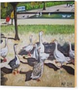 Geese In The Park Wood Print
