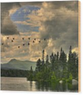 Geese Over Jericho Lake Wood Print