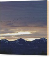 Geese Over The Cascades Wood Print