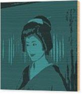 Geisha In Blue Wood Print