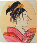 Geisha In The House Of Pleasure Wood Print