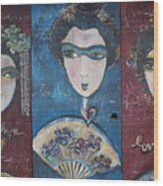 Geisha Love Triptych Wood Print