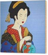 Geisha With Fish Wood Print