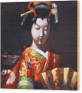 Geisha With Golden Fan Wood Print