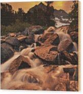 Gem Lakes Cascade Sunset Wood Print