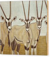 Gemsboks Or 0ryxs Triptych Wood Print