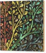 Gemstone Tree With Golden Decor Wood Print