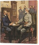 General Grant Meets Robert E Lee  Wood Print by English School