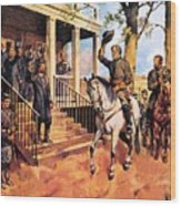 General Lee And His Horse 'traveller' Surrenders To General Grant By Mcconnell Wood Print