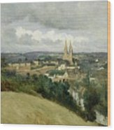 General View Of The Town Of Saint Lo Wood Print by Jean Corot
