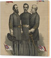 Generals Jackson Beauregard And Lee Wood Print by War Is Hell Store