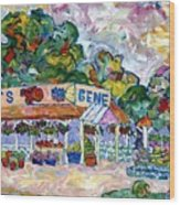Gene's Farm Stand Wood Print by Popo  Flanigan