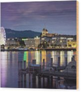Geneva By Night  Wood Print