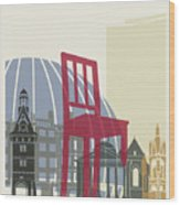 Geneva Skyline Poster Wood Print