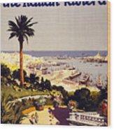 Genoa And The Italian Rivera Vintage Poster Restored Wood Print