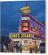 Geno's Steaks South Philly Wood Print