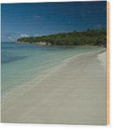 Gentle Surf Rolling Onto A Caribbean Wood Print