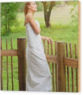 Gentle Woman Standing On The Porch  Wood Print