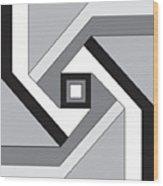Geoblock23bnw Wood Print