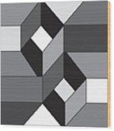 Geoblock52bnw Wood Print
