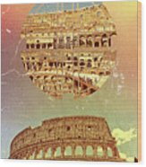 Geometric Colosseum Rome Italy Historical Monument Wood Print
